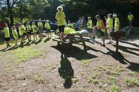 2013.08.15 - Thompson, CT - Diane Joy speaks with cyclists before the start of their 11-day journey through Connecticut to commemorate the centennial of the state's State Parks.