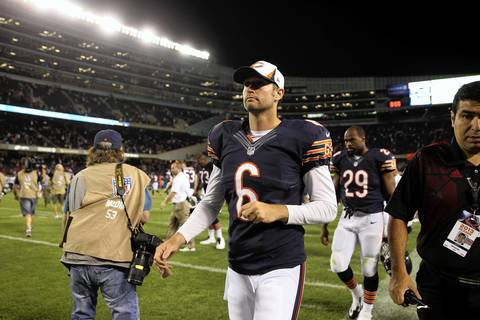 Jay Cutler walks off the field after the preseason win.