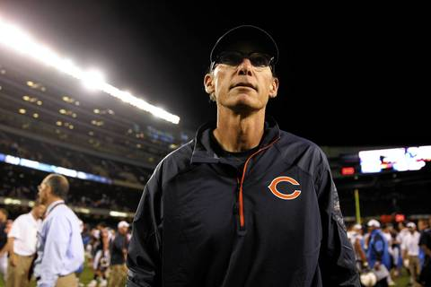 Bears coach Marc Trestman walks off the field after the preseason win.