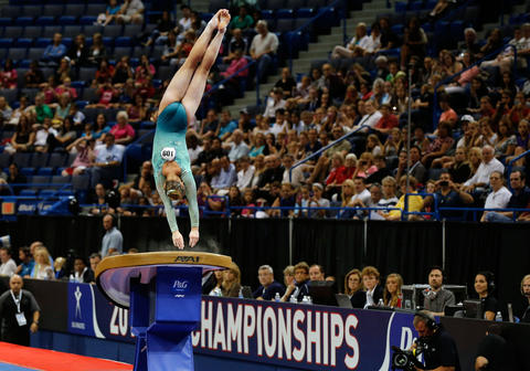 Aug 15, 2013; Hartford, CT, USA; McKayla Maroney on the vault exercise during the women's P&G Gymnastics Championships.
