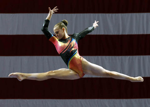 Aug 15, 2013; Hartford, CT, USA; Abigail Milliet on the balance beam during the women's P&G Gymnastics Championships.