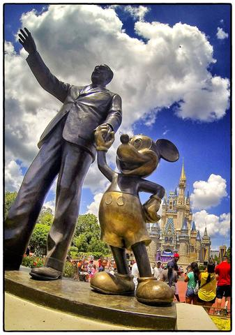 "The 'Partners"" statue of Walt Disney and Mickey Mouse in front of Cinderella Castle, on Main Street USA, at the Magic Kingdom, Walt Disney, World,  Thursday, August 15, 2013.  (Joe Burbank/Orlando Sentinel)  B583129894Z.1"
