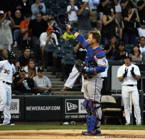 Rangers catcher A.J. Pierzynski acknowledges Sox fans.