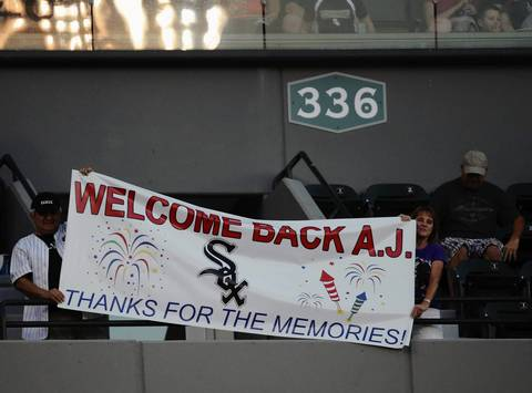 Sox fans celebrate A.J. Pierzynski's return.