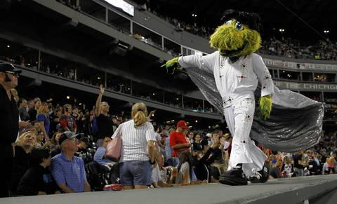 White Sox mascot Southpaw is dressed as Elvis.