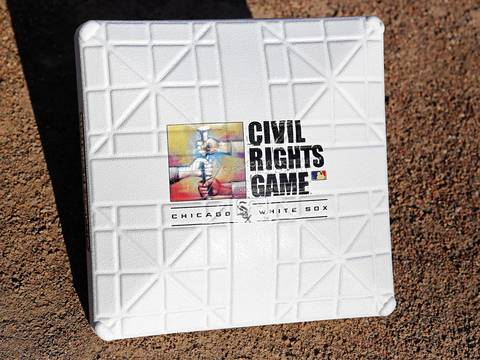 The commemorative base to mark the annual Civil Rights Game on Saturday night.