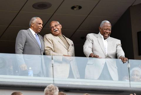 MLB Hall of Famers Frank Robinson, Billy Williams and Hank Aaron stand as they are acknowledged during the 2013 Civil Rights Game.