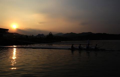 Crews take part in a training session during day two of the 2013 World Rowing Championships on August 26, 2013 in Chungju, South Korea.