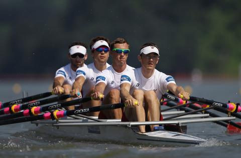 Shane Madden, David Smith, Colin Ethridge and Andrew Quinn of United States compete in the Lightweight Men's Quadruple Sculls during day two of the 2013 World Rowing Championships on August 26, 2013 in Chungju, South Korea.