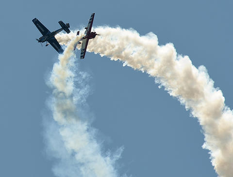 Rob Holland (left) and Jack Knutson delight the heavy crowd during the Lehigh Valley Airshow at Lehigh Valley International Airport on Sunday.