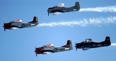 The T28 Heritage Flight performs at the Lehigh Valley Airshow Saturday. The show continues Sunday.