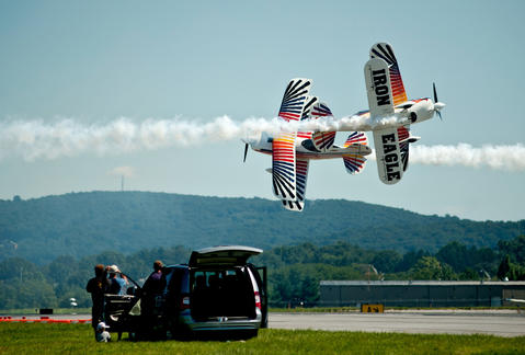 The Iron Eagles Aerobatic Team perform at the Lehigh Valley International Airport as part of the Lehigh Valley Airshow on Saturday.