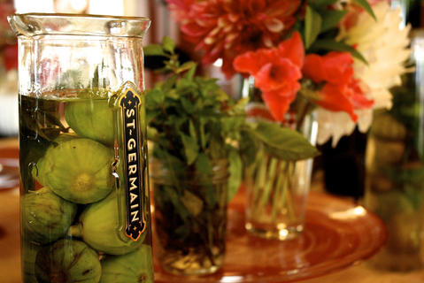 Figs Infusing In Lemon Verbena Vodka The vodka could be used in a drink, or the figs served with a dessert.