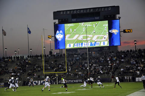 The new scoreboard at Rentschler Field was used Thursday night for the season opener.