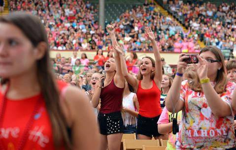 Fans listen to Bridgit Mendler and her band perform at Allentown Fair grandstand during The Great Allentown Fair on Tuesday, August 28, 2013.