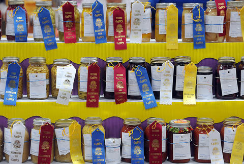 Canned vegetable are display during The Great Allentown Fair Friday.