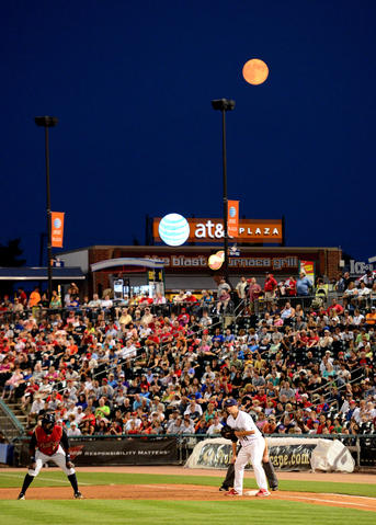 A near full-moon rises Tuesday night.   Scranton Wilkes Barre Railriders played at Lehigh Valley IronPigs at Coca-Cola Park Tuesday night.