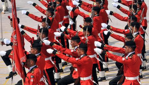 Pakistani paramilitary soldiers take part in a ceremony at the Rangers headquarters in Lahore on September 6, 2013 to mark the countrys Defence Day. Pakistan's armed forces staged a display of their capacities as they celebrated Defence Day, a commemorative day of the war fought against neighboring India in 1965.