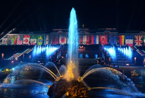 In this handout image provided by Host Photo Agency, The Grand Cascade in Peterhof during the musical fountain show for the G20 Summit participants on September 5, 2013 in St. Petersburg, Russia. The G20 summit is expected to be dominated by the issue of military action in Syria while issues surrounding the global economy, including tax avoidance by multinationals, will also be discussed during the two-day summit.