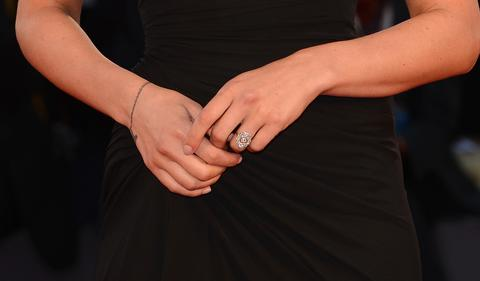 Actress Scarlett Johansson is seen wearing her engagement ring at the premiere of 'Under The Skin' at the 70th Venice International Film Festival.