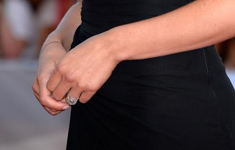Scarlett Johansson showed off her new engagement ring at the premiere of her new film 'Under The Skin' at the 70th Venice International Film Festival.