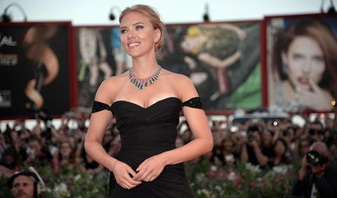 Scarlett Johansson arrives for the premiere of 'Under the Skin' at the 70th annual Venice International Film Festival.