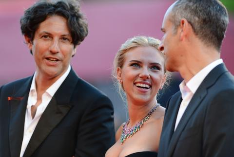 (L-R) Director Jonathan Glazer, actress Scarlett Johansson and producer James Wilson attend the 'Under The Skin' Premiere during the 70th Venice International Film Festival.