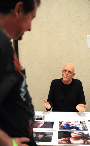 Dave Vollmar, of Long Island, talks with actor, Michael Berryman, at ParaFest 2013 held at the Sands Bethlehem Events Center.  It will run from Friday, September 6 through Sunday, September 8, 2013.