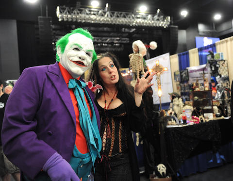 The Joker, from A Nightmare on Your Street, stops to takes photos at ParaFest 2013 held at the Sands Bethlehem Events Center.  It will run from Friday, September 6 through Sunday, September 8, 2013.