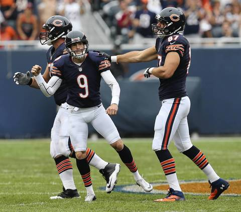 Chicago Bears kicker Robbie Gould celebrates after a 58-yard field goal at the end of the second quarter at Soldier Field in Chicago.