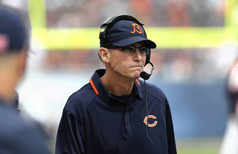Bears coach Marc Trestman works the sidelines in the first half.
