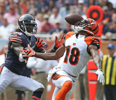 Chicago Bears cornerback Charles Tillman (33) intercepts a ball intended for Cincinnati Bengals wide receiver A.J. Green (18), during the second quarter of their game at Soldier Field in Chicago on Sunday.