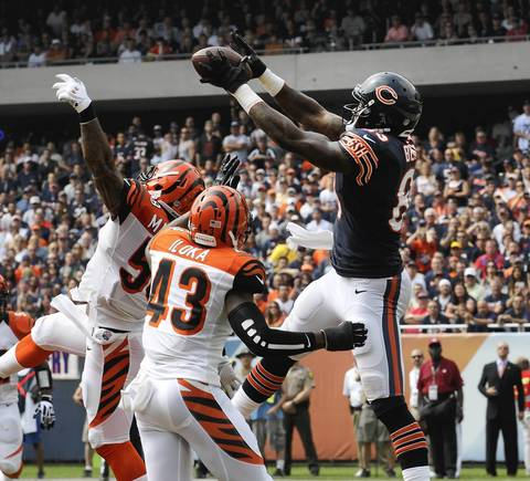 Martellus Bennett catches a pass for a touchdown.