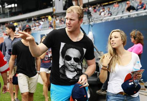 Chicago Blackhawks Bryan Bickell shows up for the Bears season opener at Soldier Field on Sept. 8.
