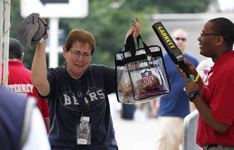 Mary Franceschini of Chicago's South side goes through security at Soldier Field on Sept 8.