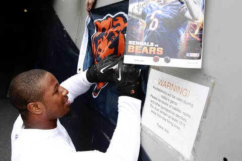 Chicago Bears inside linebacker Jon Bostic greets fans before the start of the Bears season opener on Sept. 8.