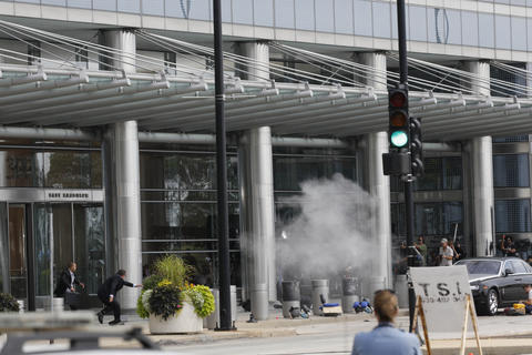 "An explosion takes place during the filming of ""Transformers 4"" along East Randolph Street in Chicago."