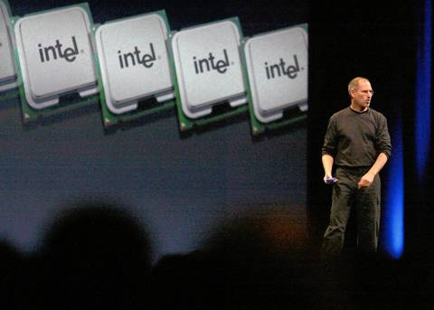Apple CEO Steve Jobs gives a keynote address at the Apple Worldwide Developer Conference in San Francisco, talking about Apple's shift to using Intel Corp. microprocessors in its Macintosh computers. Before that, International Business Machines Corp. had supplied the chips to Apple.