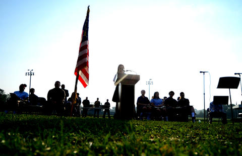 Maggie Rose Macar, a 10th-grader, speaks during the 9-11 memorial service. Notre Dame High School in Bethlehem Twp. remembered terrorist attacks of Sept. 11, 2001 with a memorial prayer service before the start of classes.