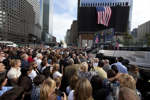President Obama speaks at the 9/11 Memorial during the tenth anniversary ceremonies of the September 11, 2001 terrorist attacks at the World Trade Center site, September 11, 2011 in New York City. New York City and the nation are commemorating the tenth anniversary of the terrorist attacks which resulted in the deaths of nearly 3,000 people after two hijacked planes crashed into the World Trade Center, one into the Pentagon in Arlington, Virginia and one crash landed in Shanksville, Pennsylvania.