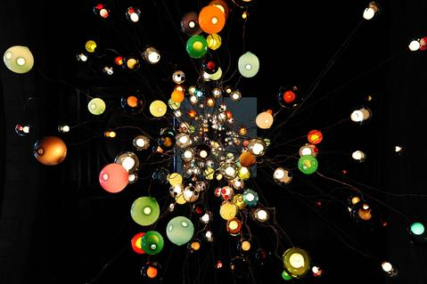 A 30-metre chandelier by Canadian design company Bocci is pictured in the main entrance of the Victoria and Albert Museum in central on September 13, 2013. The work forms part of the London Design Festival at the Victoria and Albert exhibition.