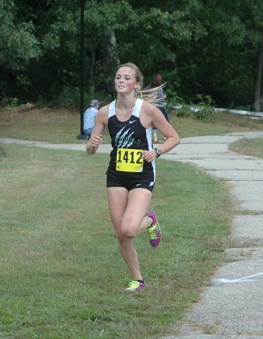 Alyssa Brehler of Griswold, who won the 3-mile Varsity 3 race Saturday afternoon in 18:27, the fastest girls time of the day, at the Haddam Windham Invitational.