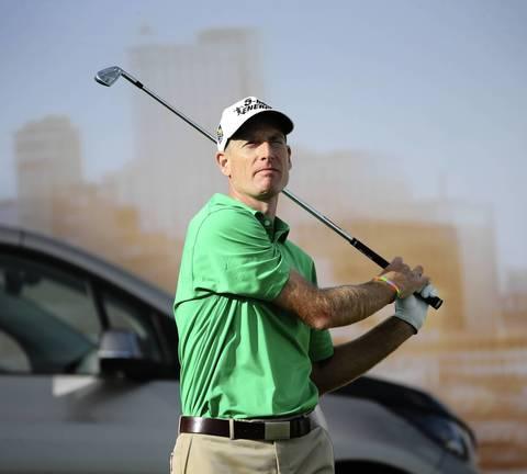 Jim Furyk on the 17th hole tee.