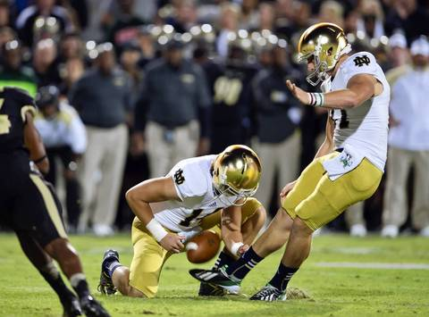 Notre Dame kicker Kyle Brindza kicks a field goal in the second quarter.