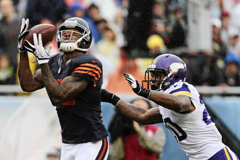 Chicago Bears' wide receiver Brandon Marshall (15) catches a pass by Chicago Bears' quarterback Jay Cutler (6) for a touchdown.