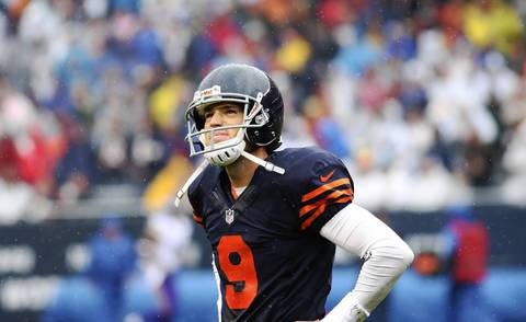 Robbie Gould reacts after kick-off return against the Chicago Bears by the Minnesota Vikings in the first quarter.
