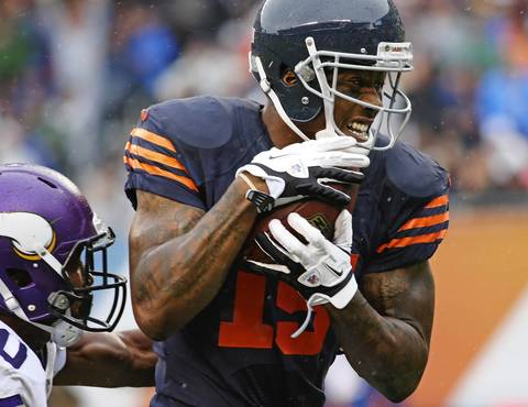 Brandon Marshall of the Bears makes a reception for a touchdown in the first quarter against the Vikings at Soldier Field.