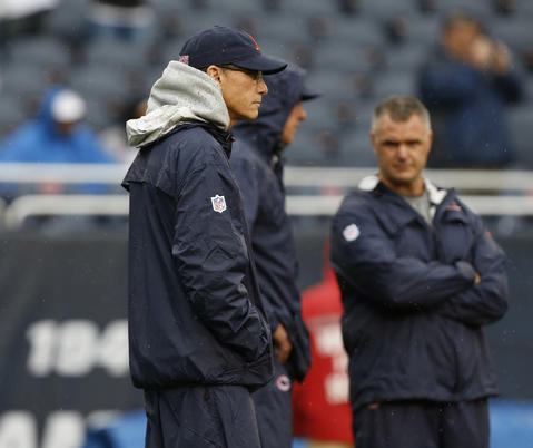 Chicago Bears head coach Marc Trestman watches pre-game warm ups prior to a game against the Minnesota Vikings at Soldier Field on Sunday.