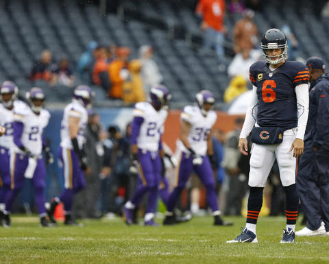 Chicago Bears quarterback Jay Cutler (6) during warm ups prior to facing the Minnesota Vikings at Soldier Field on Sunday, Sept. 15, 2013.