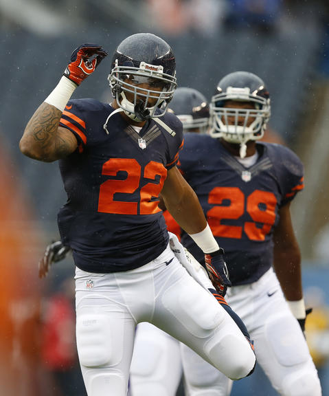 Chicago Bears running back Matt Forte (22) stretches during pre-game warm ups prior to facing the Minnesota Vikings at Soldier Field on Sunday.